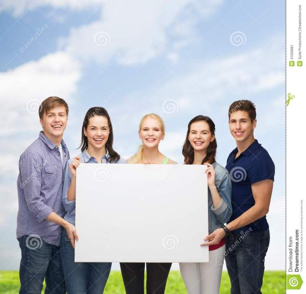 Group Of Standing Students With Blank White Board Stock