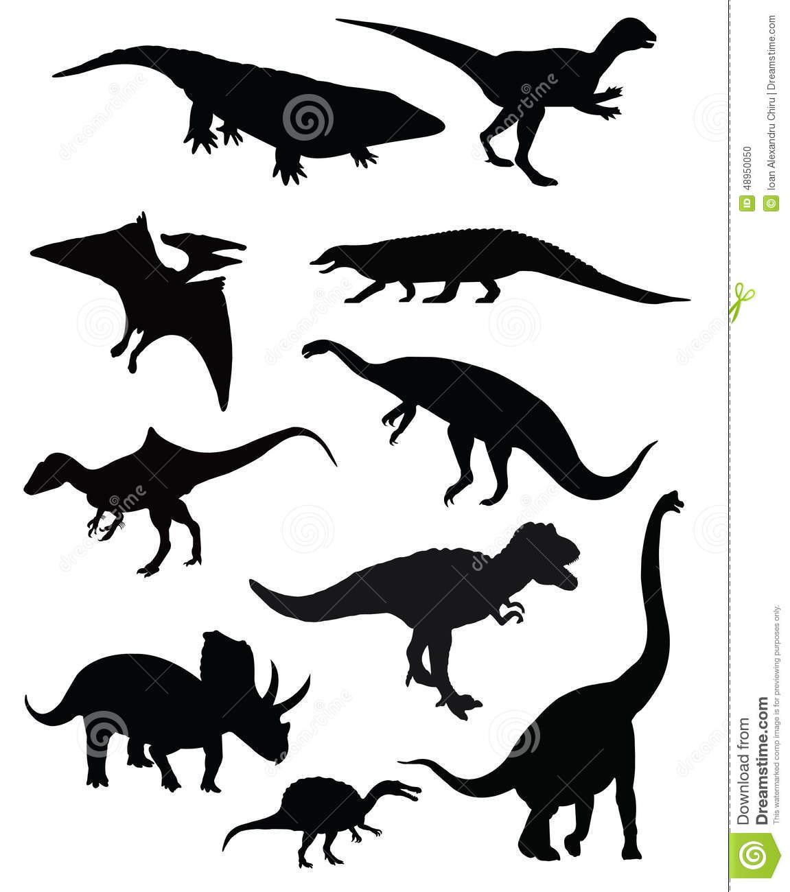 Group Of Ten Dinosaurs Isolated Stock Vector
