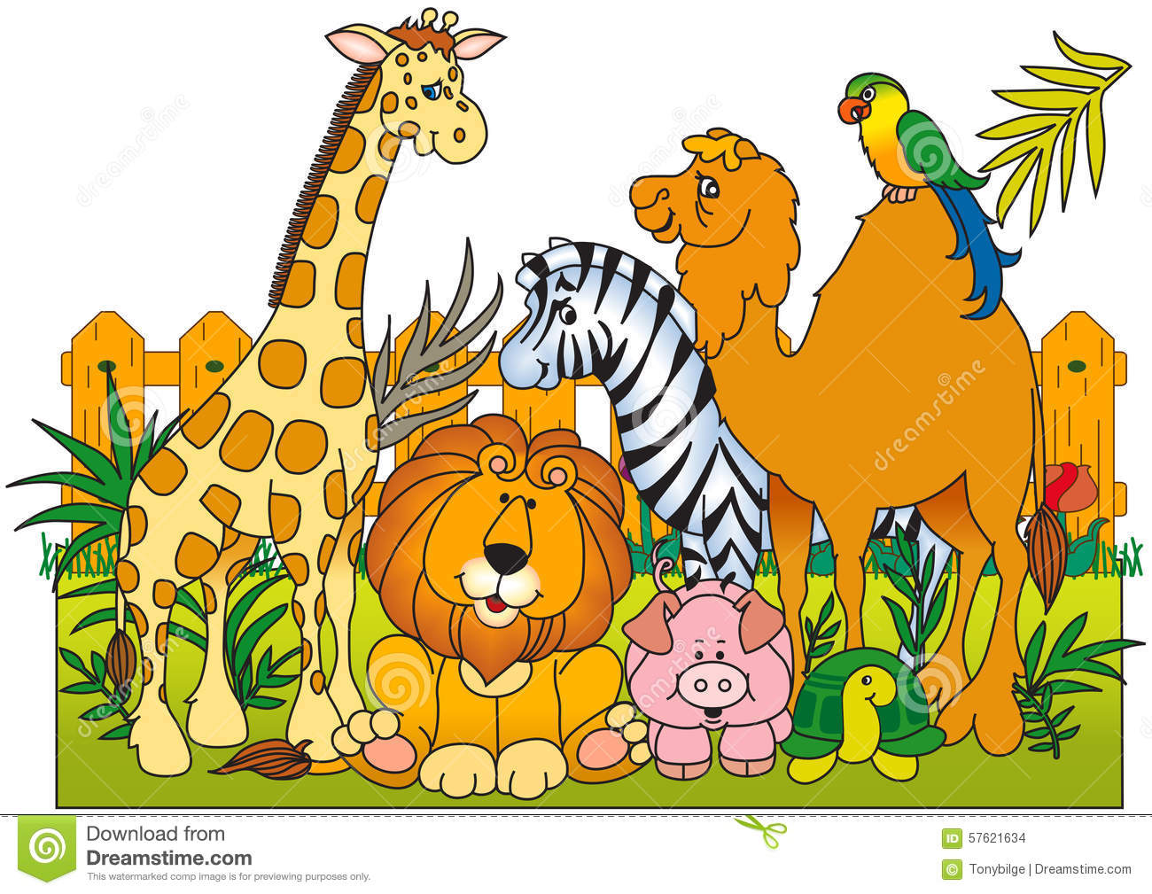 A Group Of Wild Animals Stock Vector Illustration Of