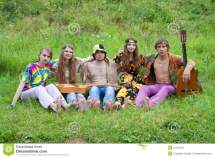 Group Of Young Hippies Stock Women