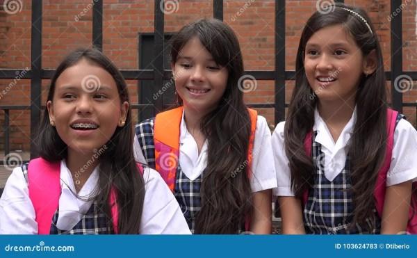 Catholic Pretty Girls Wearing School Uniforms Stock