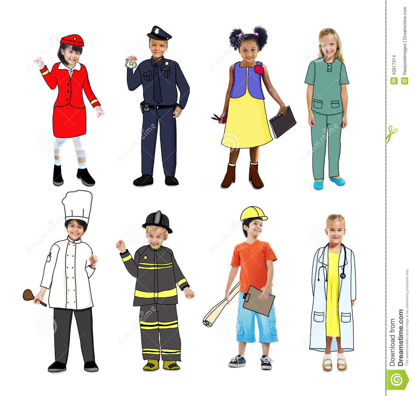 Groupe D Enfants Portant Futur Job Uniforms Illustration