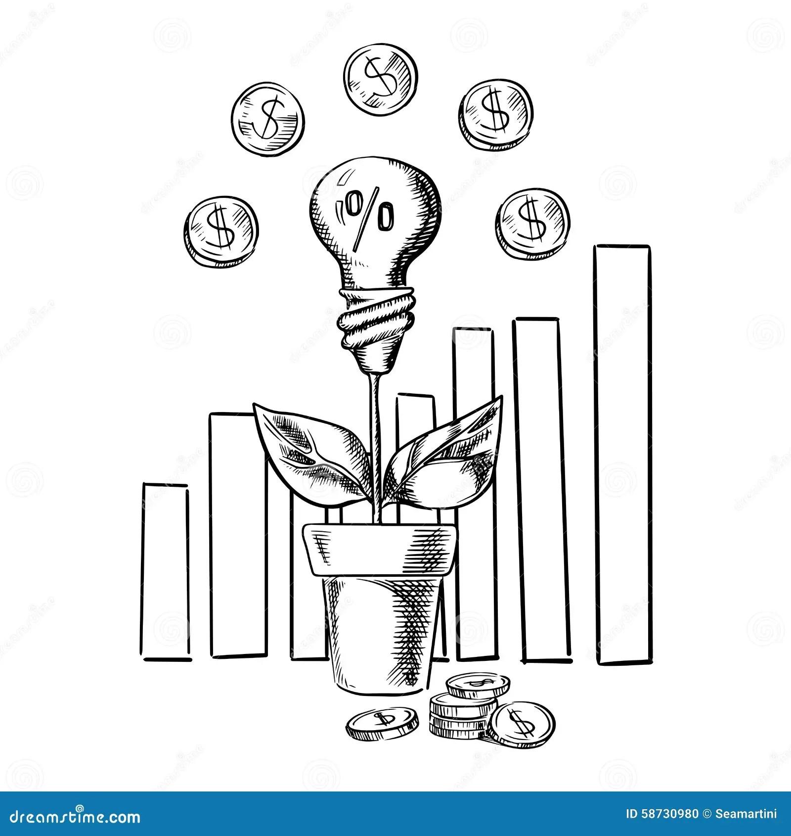 Growth Chart And Idea Light Bulb With Flower Stock Vector
