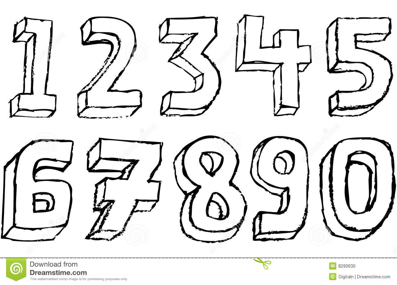 Grunge 3d Numbers In Black And White Stock Photo