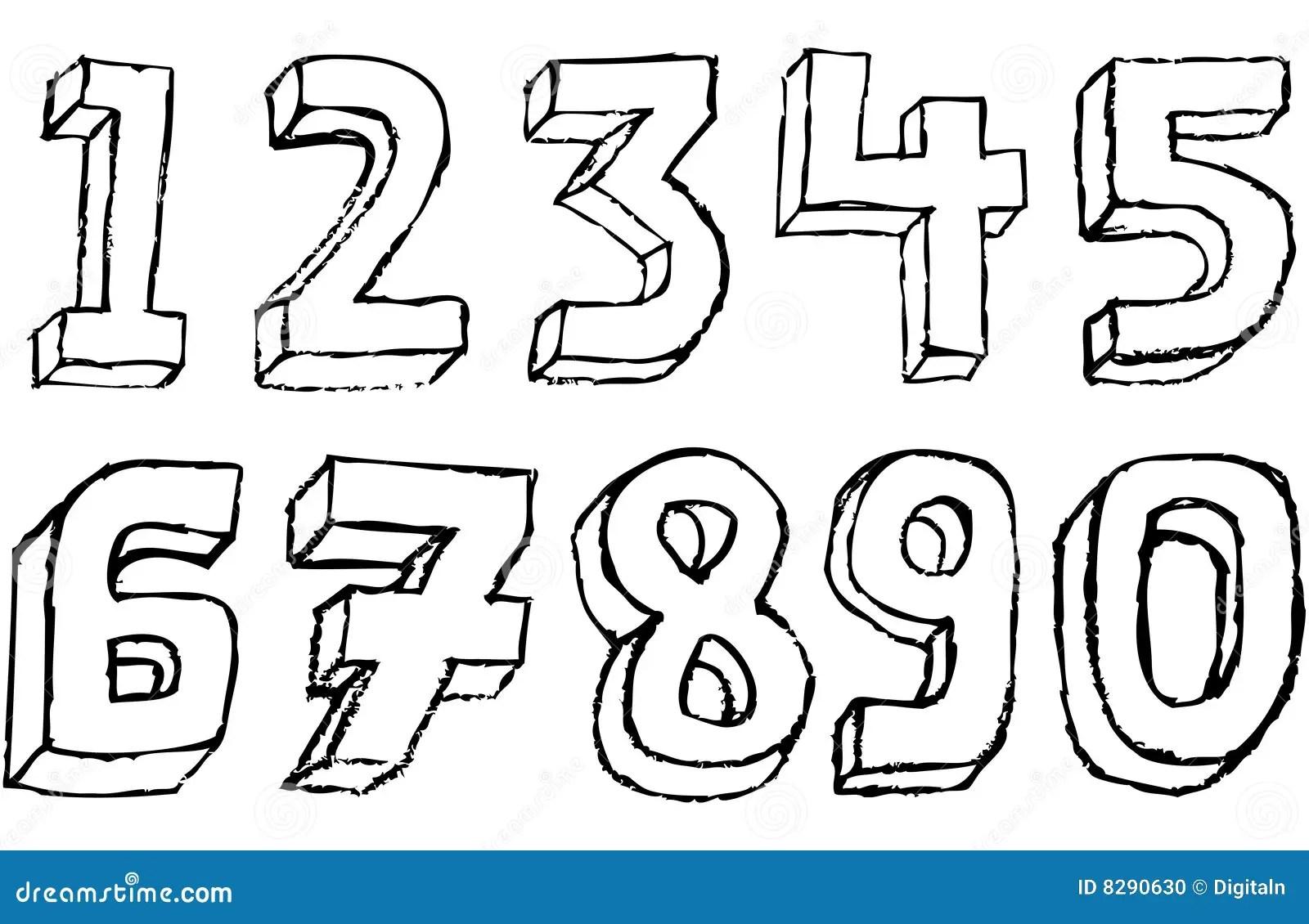 Grunge 3d Zahlen In Schwarzweiss Stock Abbildung