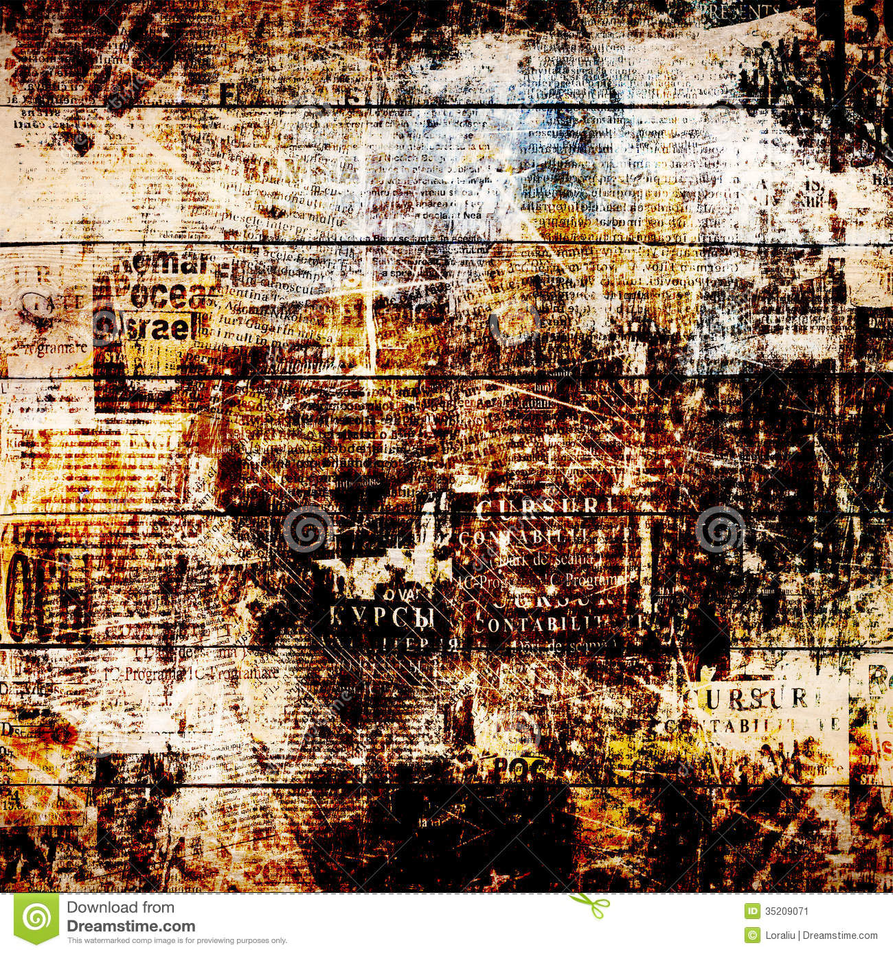 Grunge Abstract Newspaper Background For Design Stock Image  Image 35209071