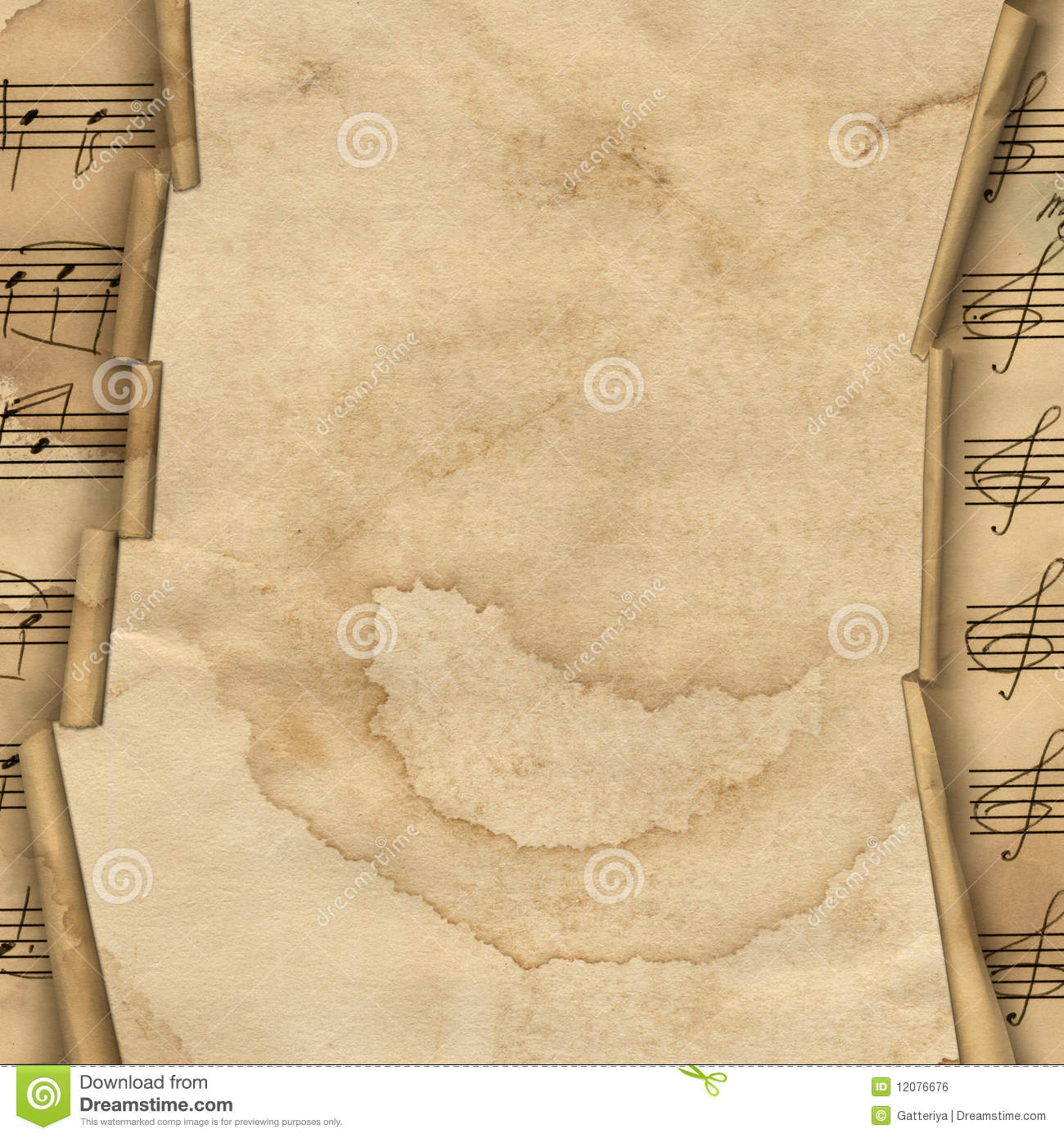 Grunge Background With Music Border For Design Stock