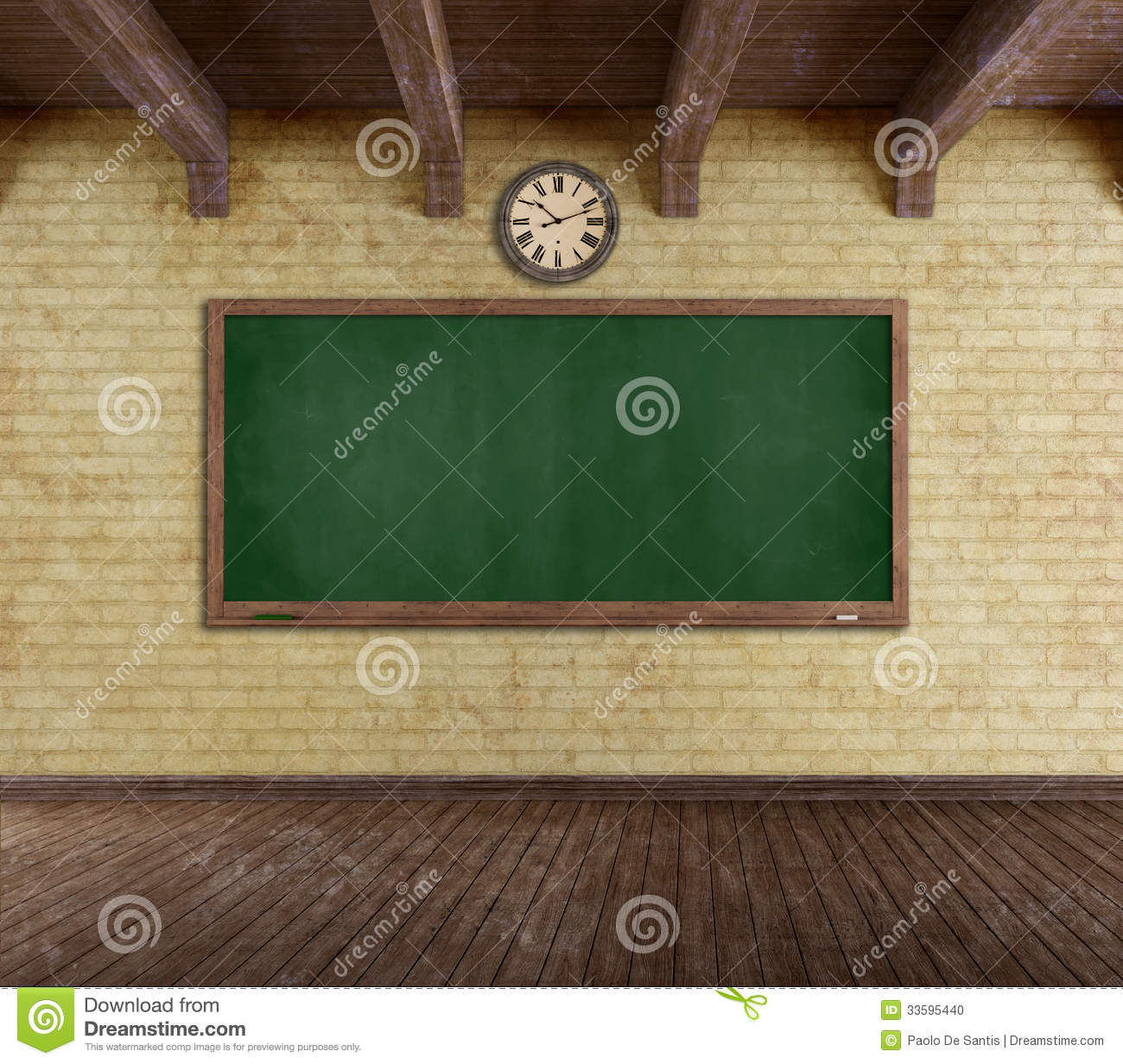Grunge empty classroom stock illustration Illustration of