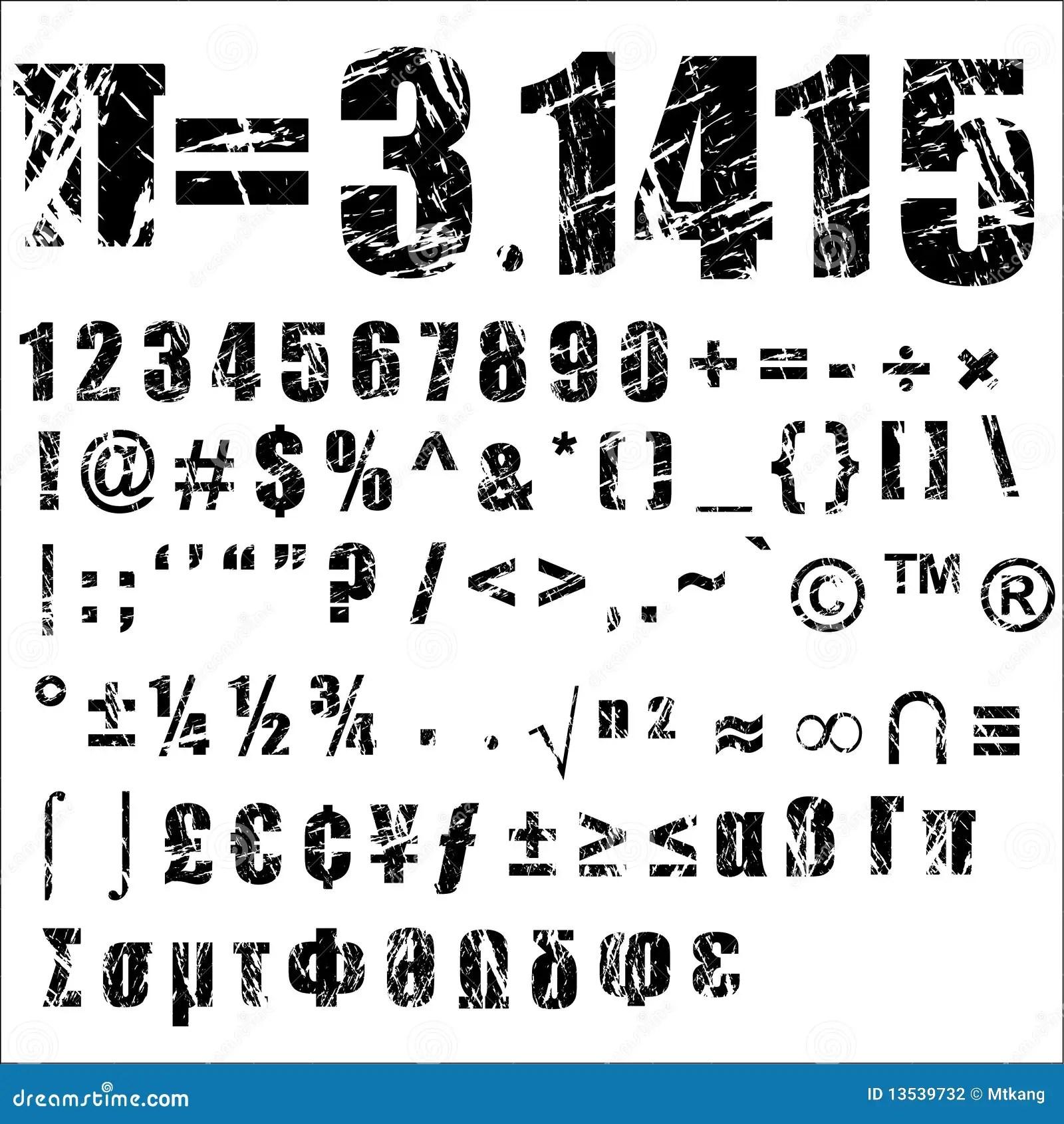 Grunge Number And Symbol