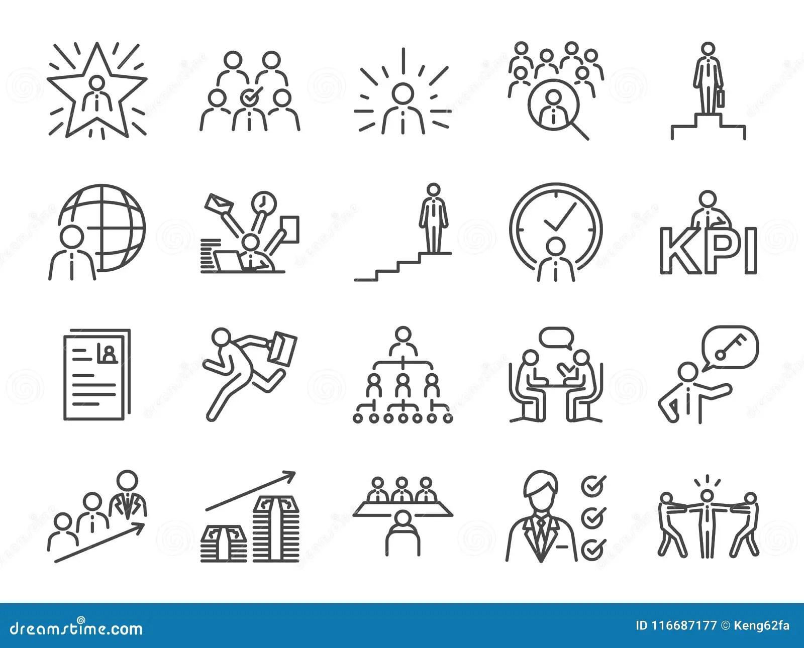 Grupo Do ícone Da Carreira Profissional Incluiu Os ícones