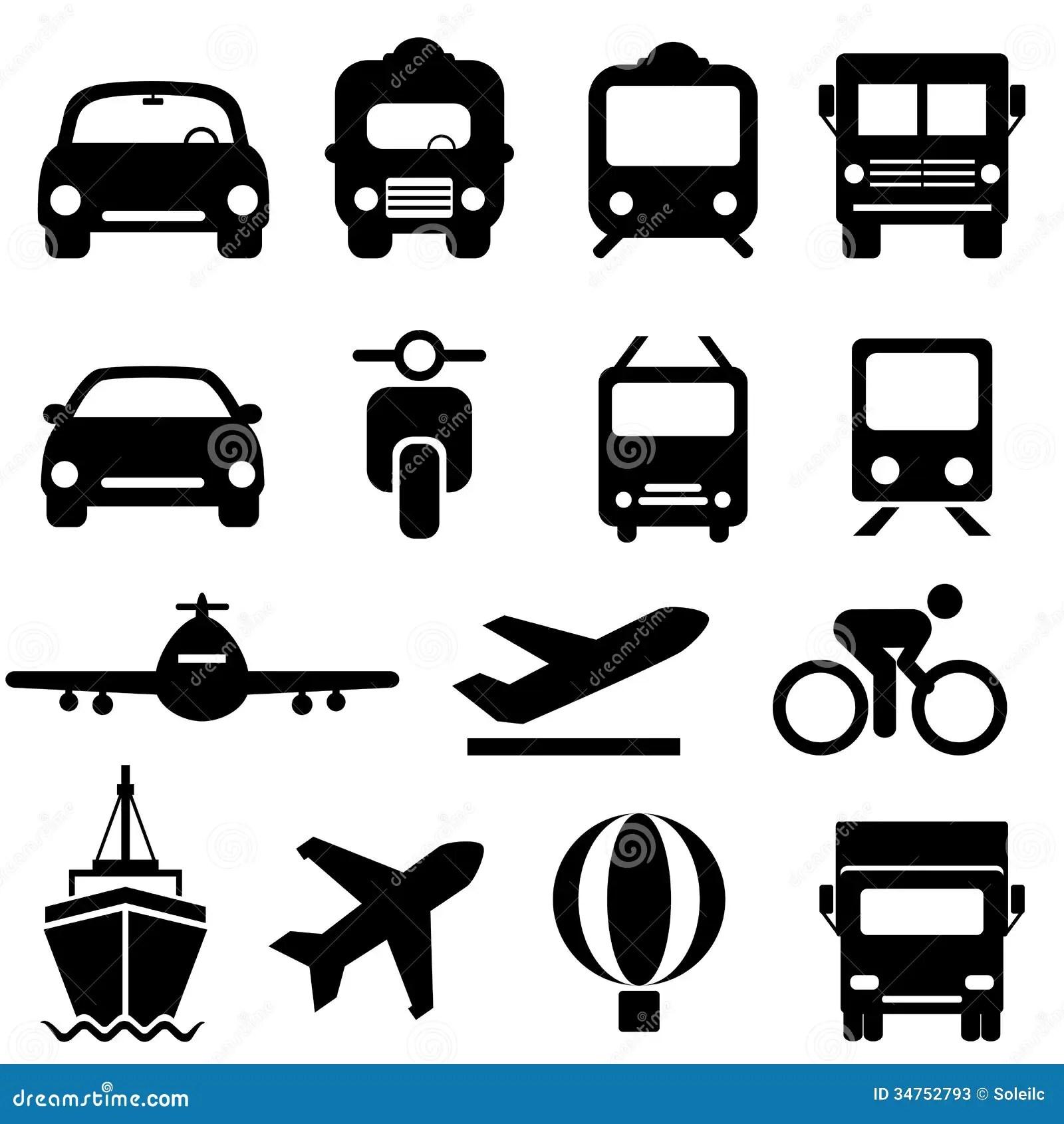 Grupo Do Icone Do Transporte Ilustracao Do Vetor