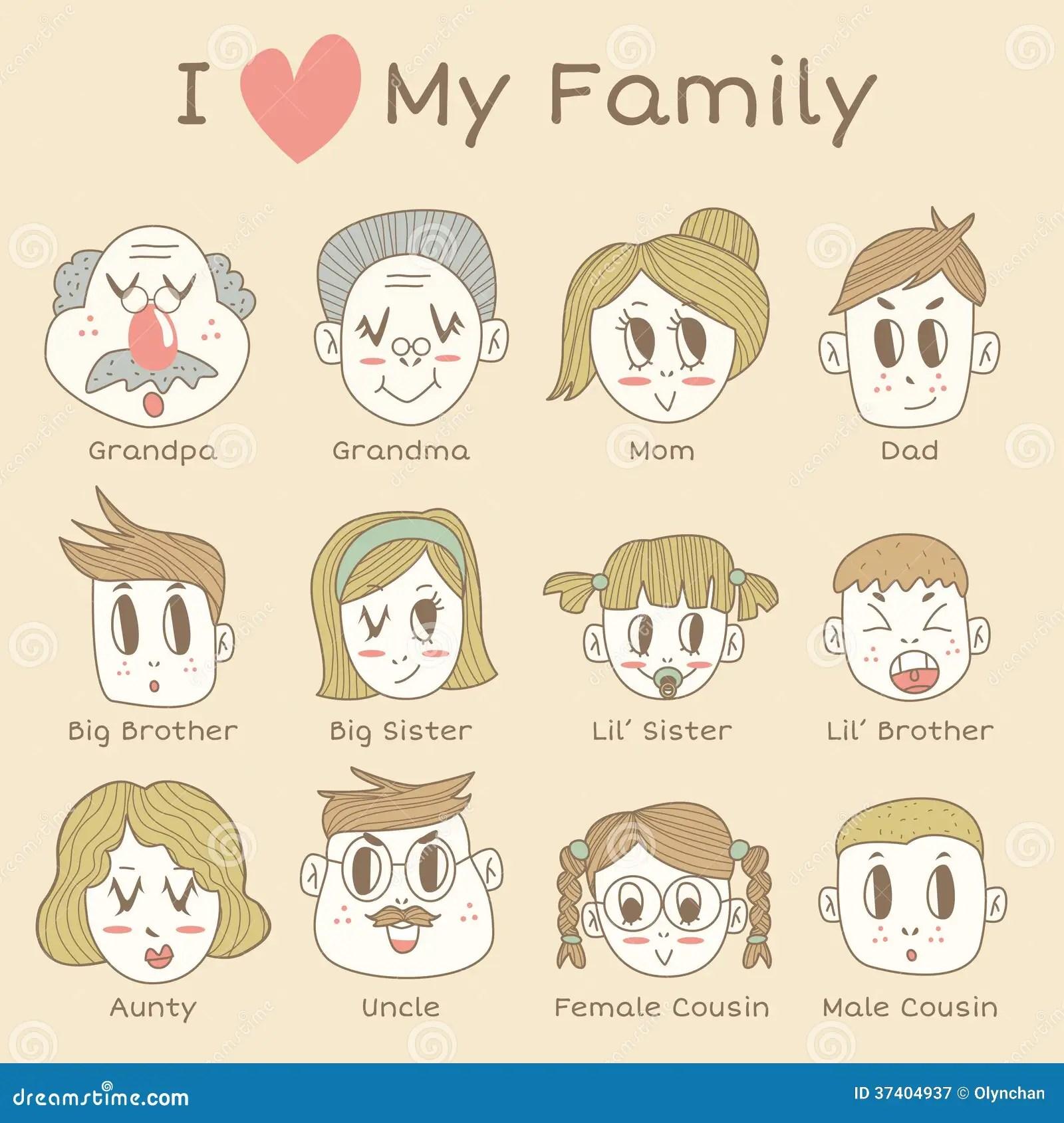Grupo Do Icone Dos Membros Da Familia Ilustracao Stock
