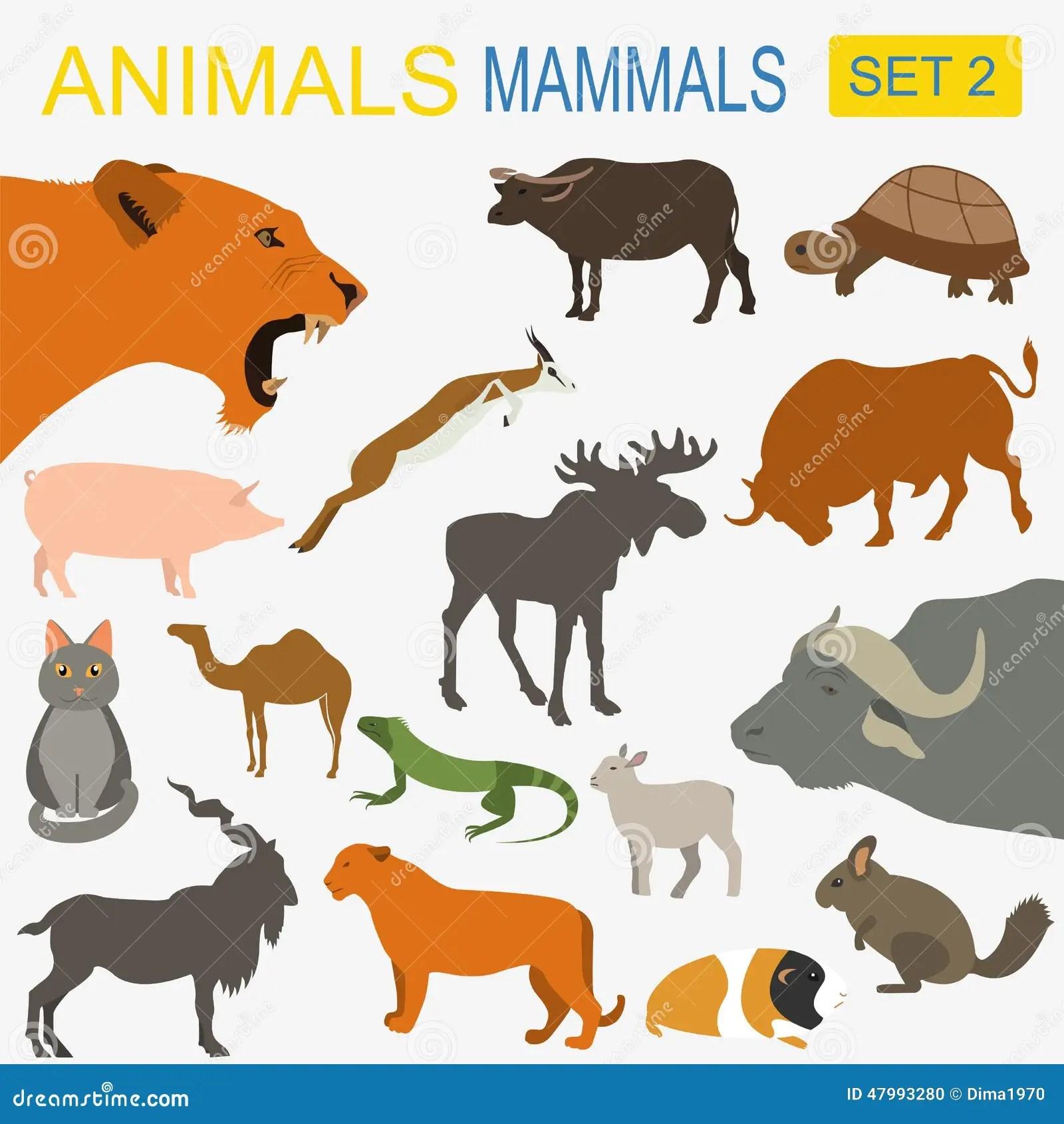 Grupo Do Icone Dos Mamiferos Dos Animais Estilo Liso Do