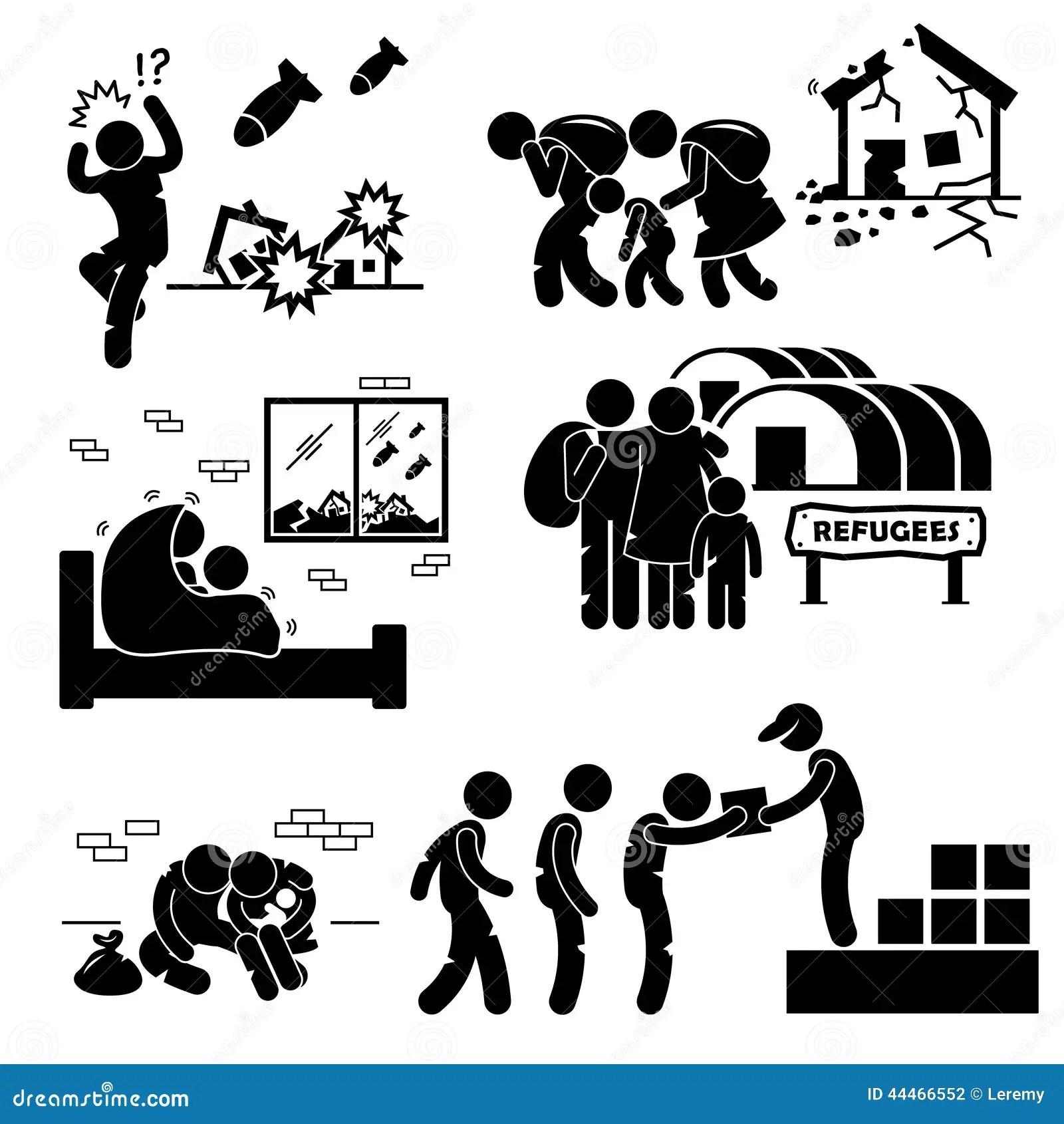 Guerra Cliparts Do Evacuado Dos Refugiados Ilustracao Do