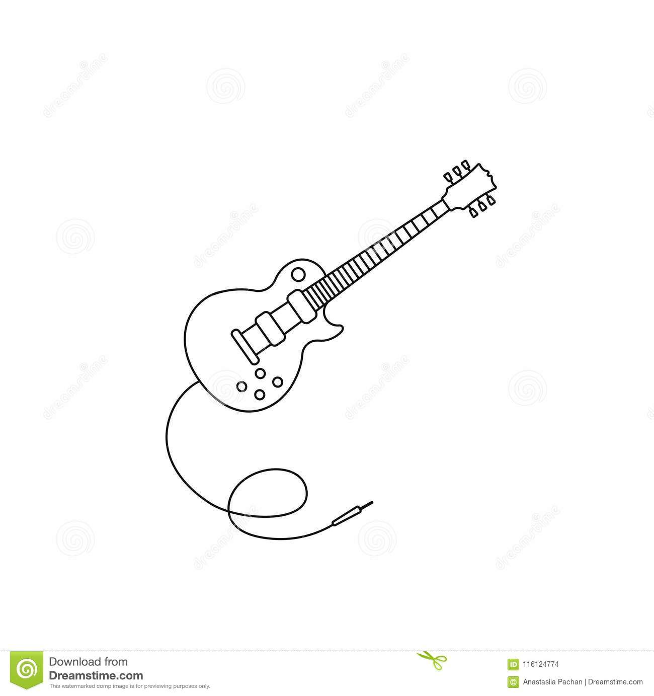 Guitar Icon Vector Music Electric Guitar Icon Outline