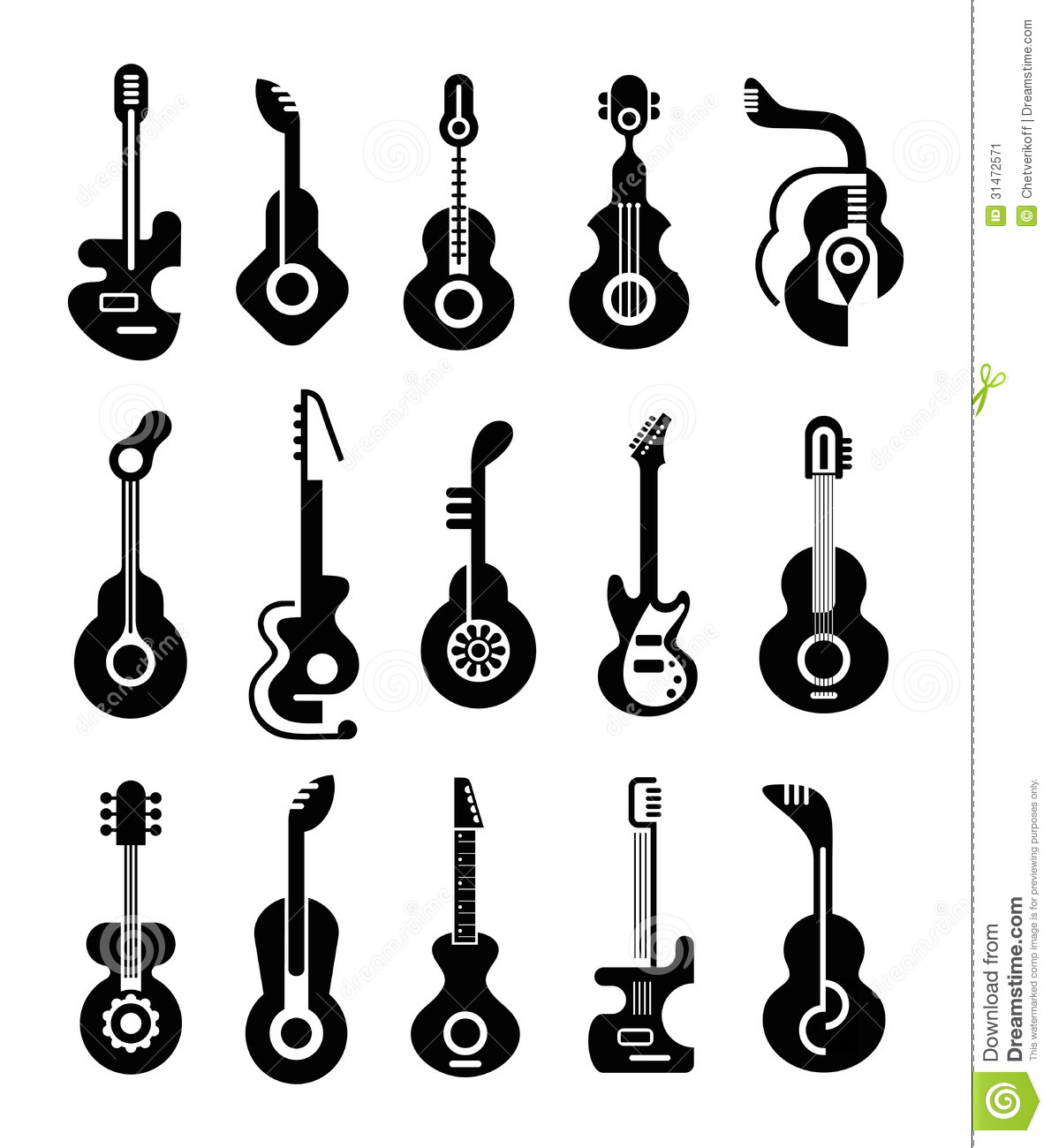 Guitar Icons stock vector. Illustration of electric, icon