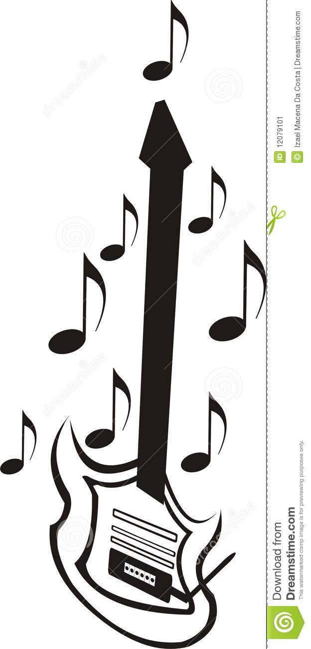 Guitar with Music Notes stock illustration. Illustration