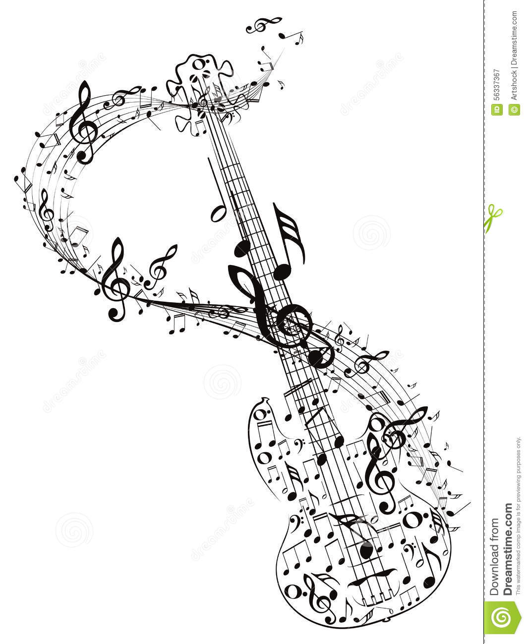Guitar And Music Notes Stock Vector Illustration Of Roll