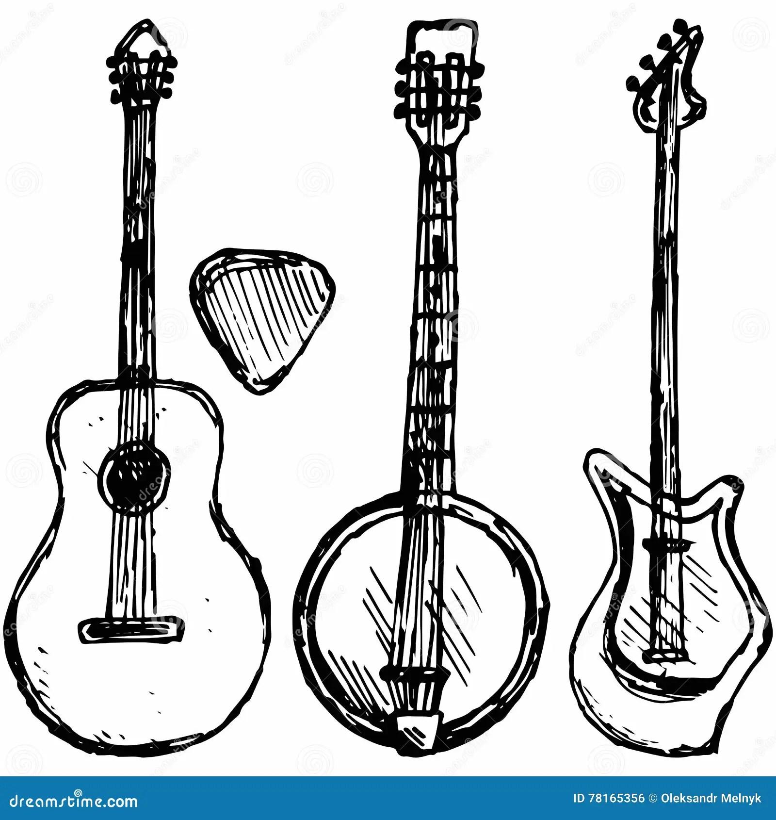 Guitar Plectrum Guitar And Banjo Stock Vector