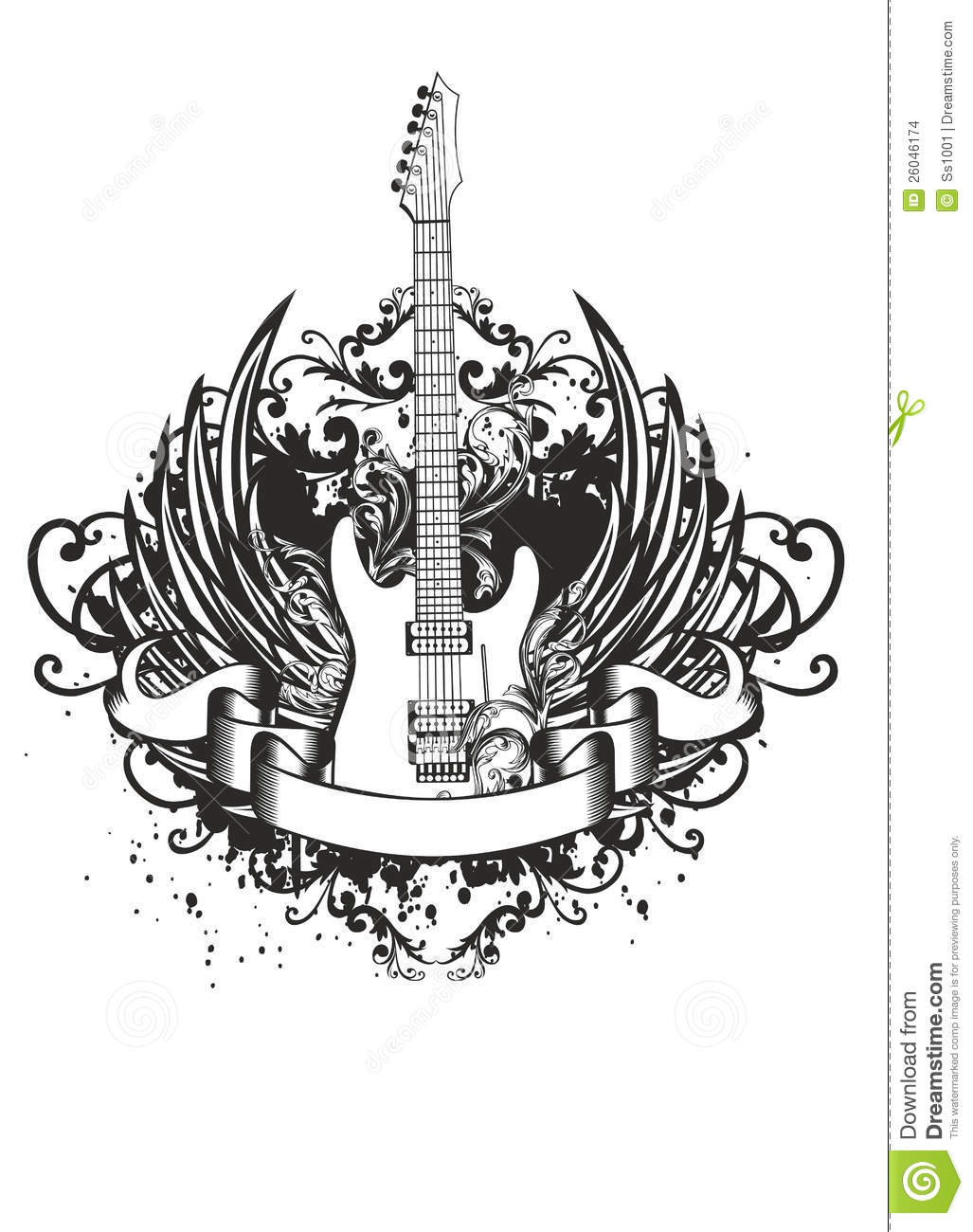 Guitar With Wings Patterns Stock Images