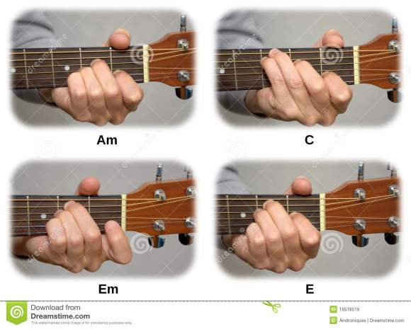Guitarist Hand Playing Guitar Chords: Am, C, Em, E Royalty ...