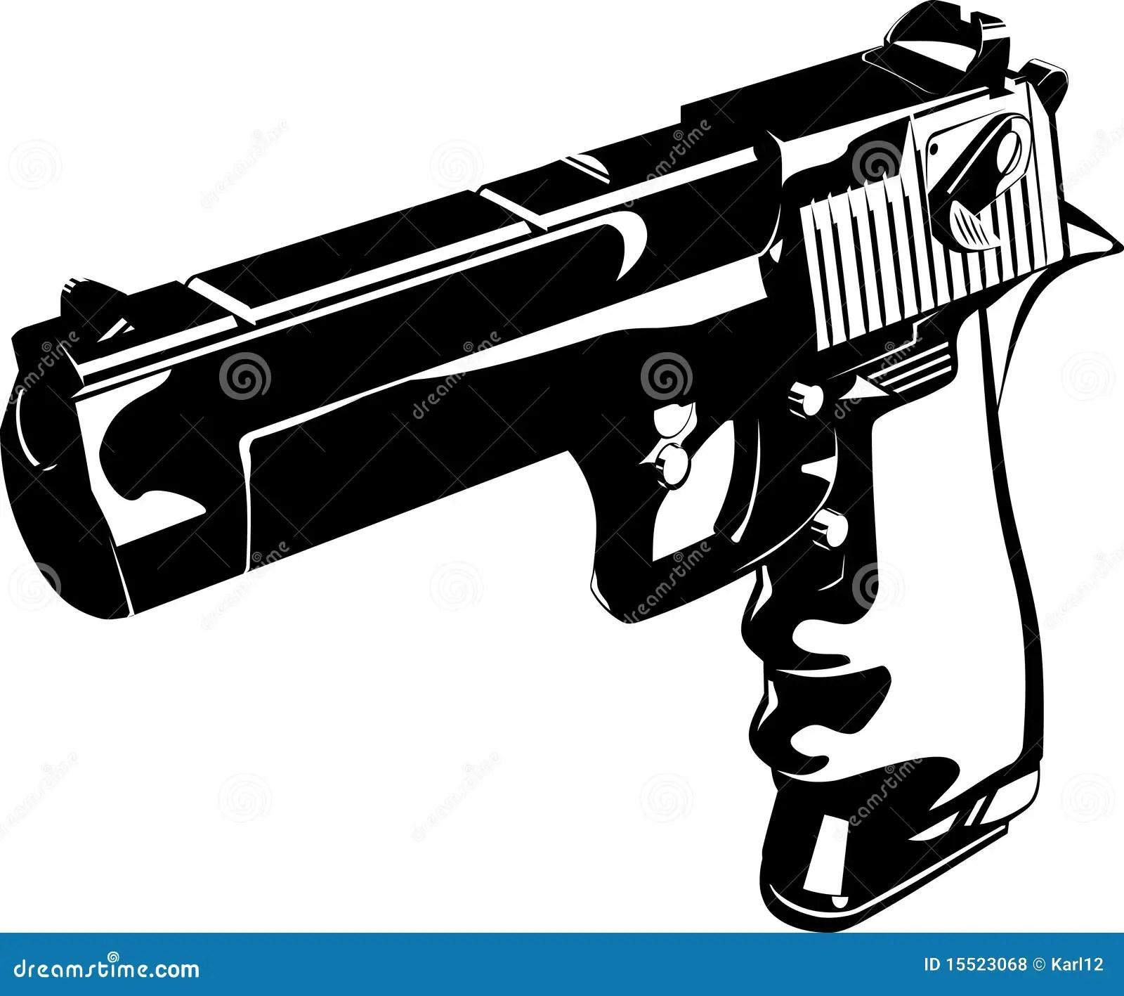 White And Hand Gun Black