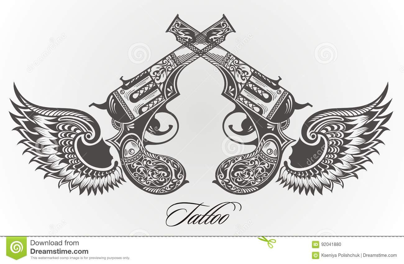 Guns With Wings Tattoo Design Stock Vector