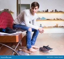 Guy Shopping Fashion Shoe Store Stock