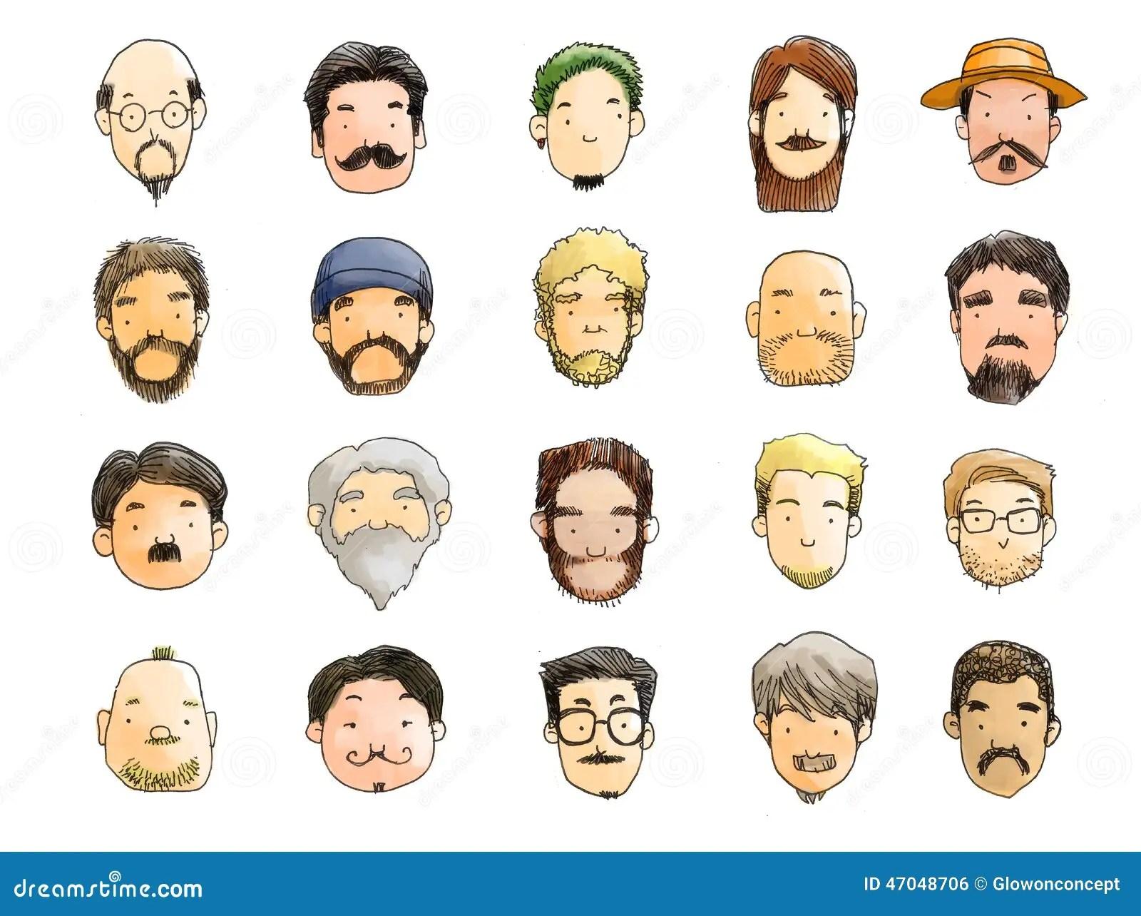 Guys With Beard Illustration No Shave November Stock
