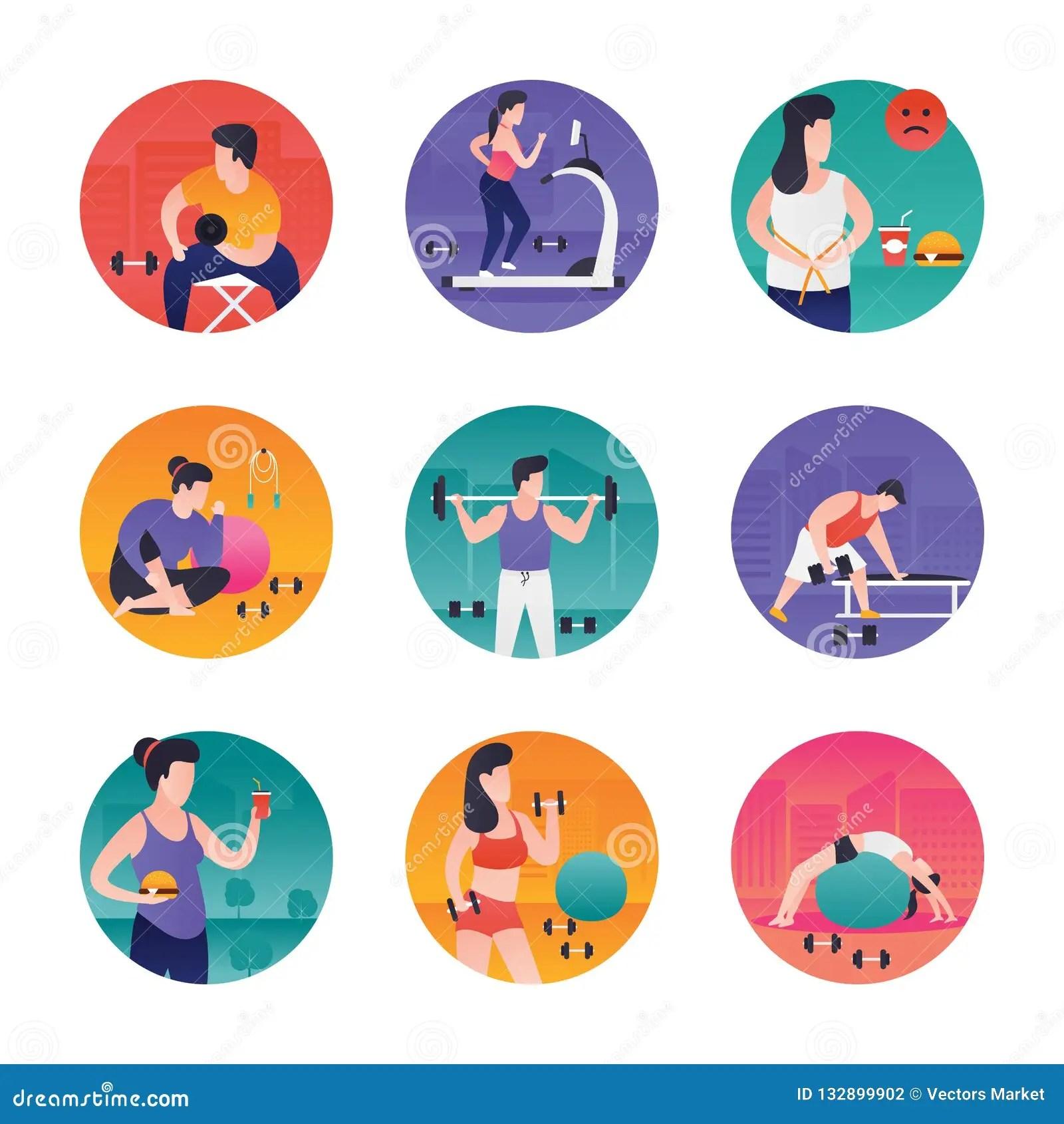 Gym Exercises Illustrations Stock Illustration