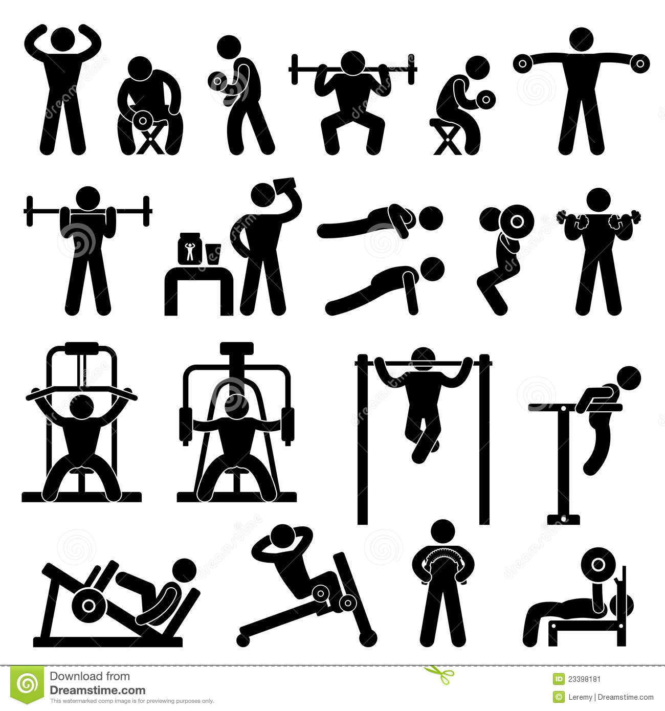 Gym Gymnasium Body Building Exercise Training Stock Vector