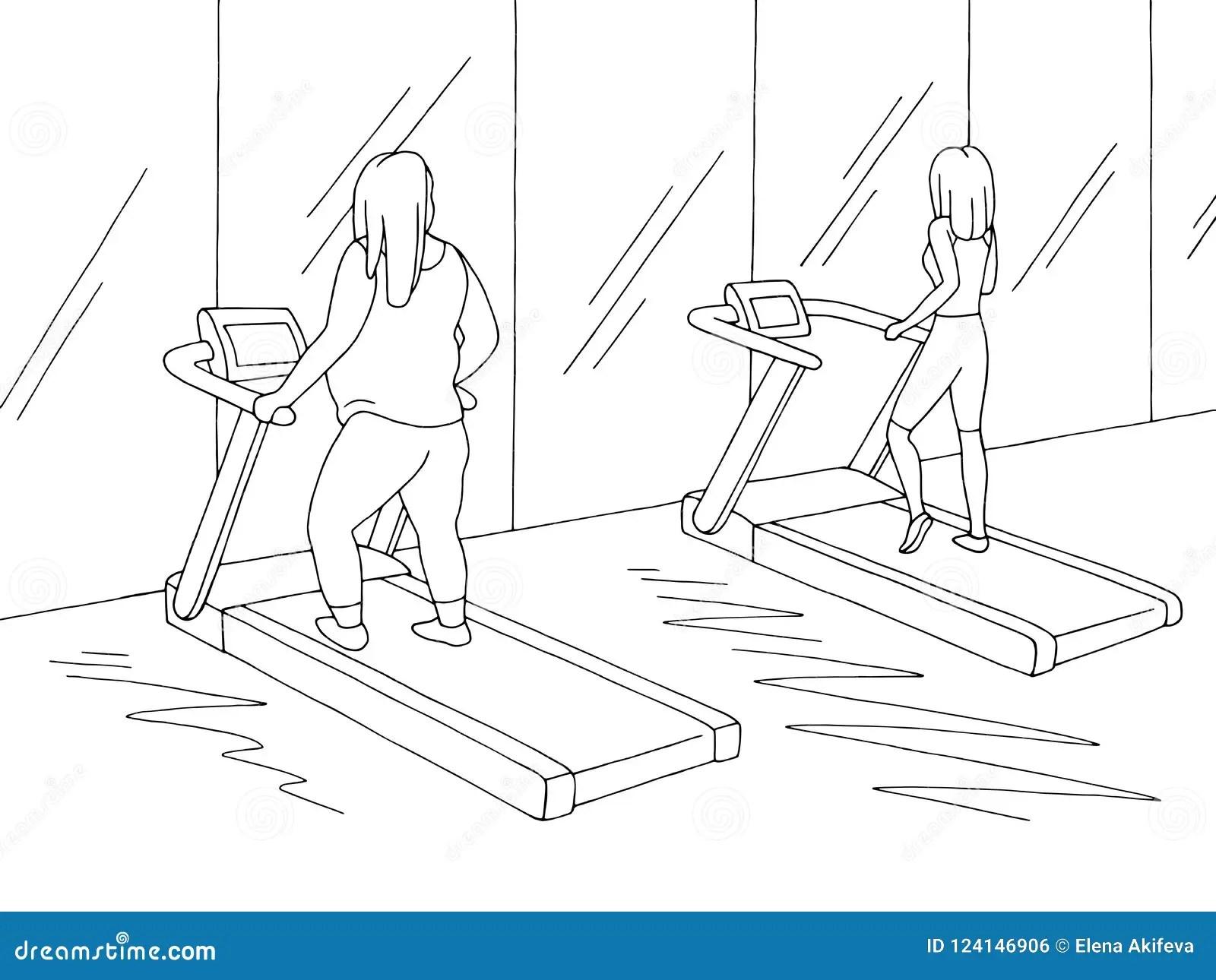 Gym Interior Graphic Black White Sketch Illustration