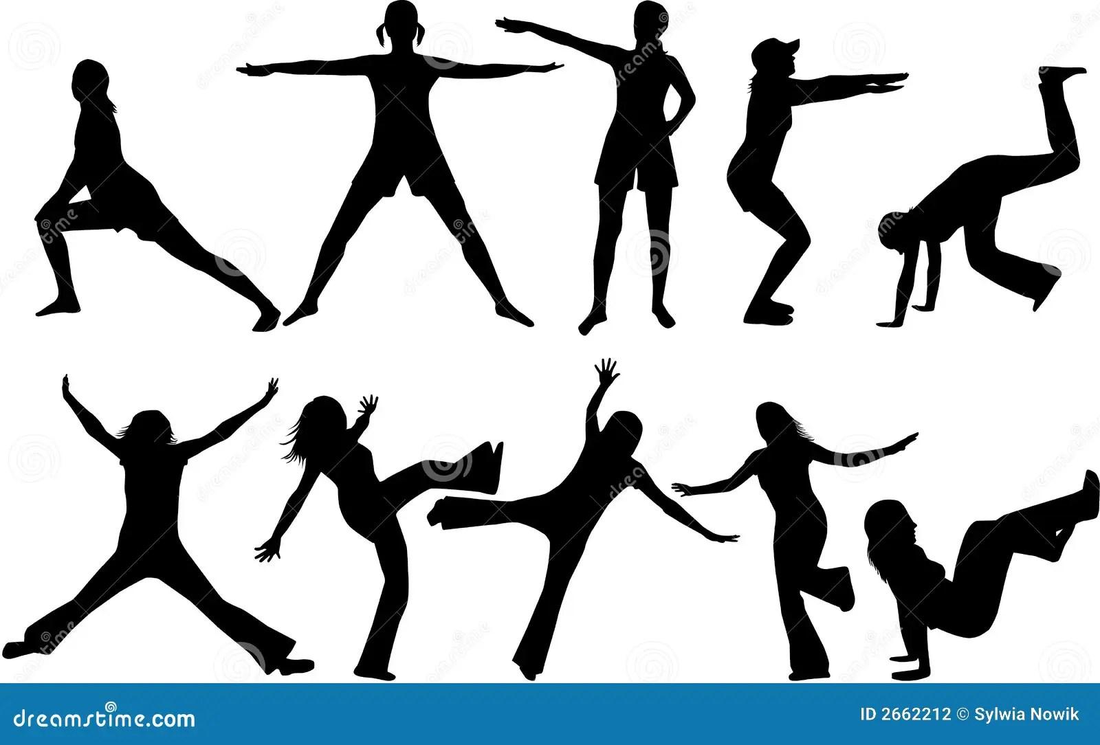 Gymnastics Silhouettes Stock Photography