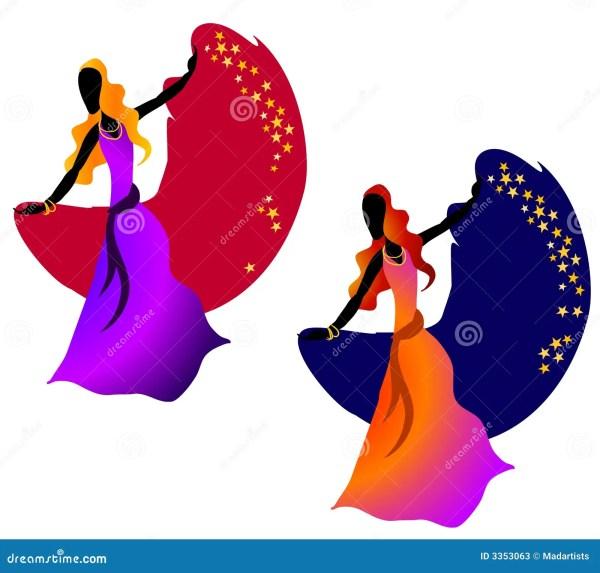 Gypsy Dancing Woman Stars 2 Stock - 3353063