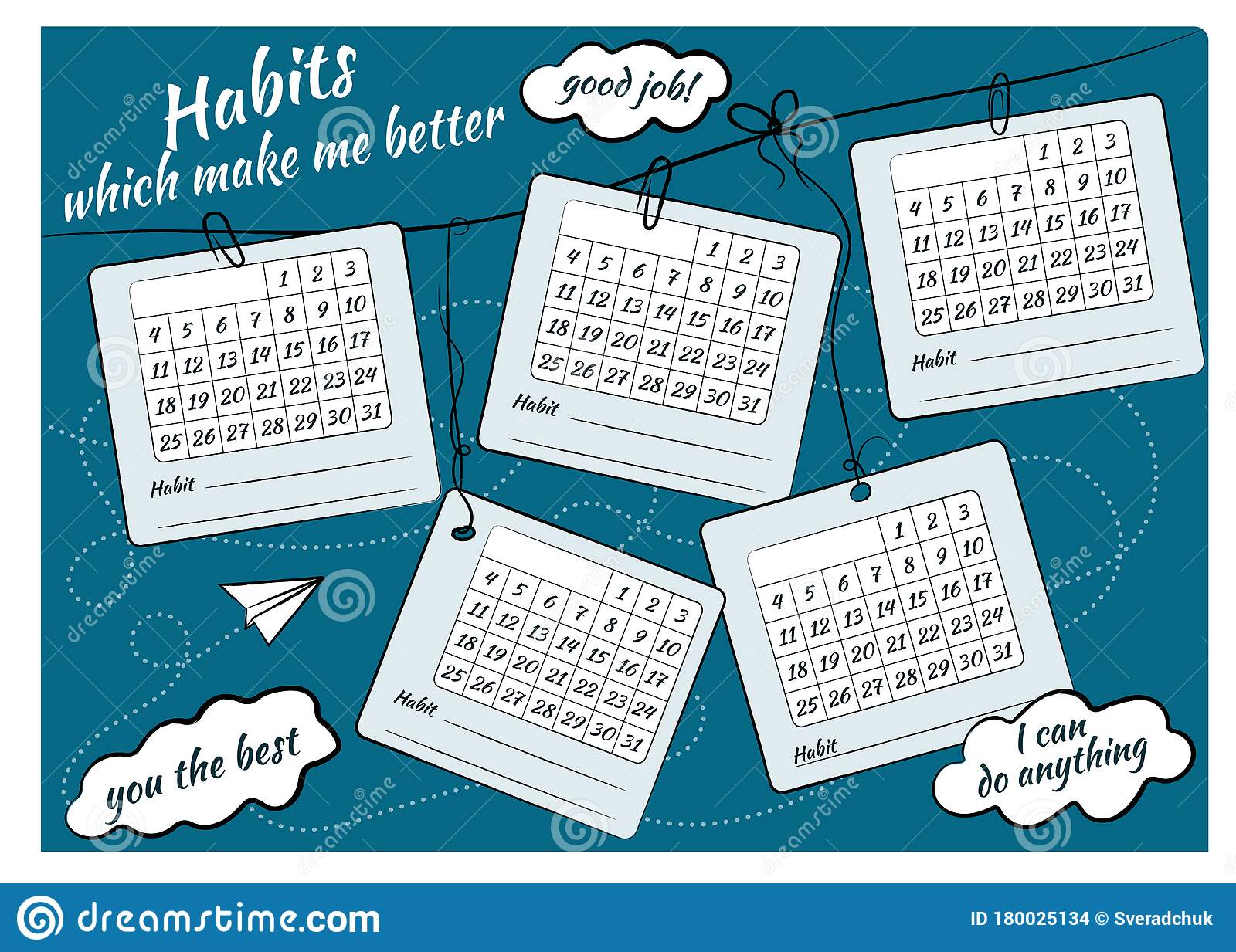 Habit Control Sheet And Inscriptions Habits That Will