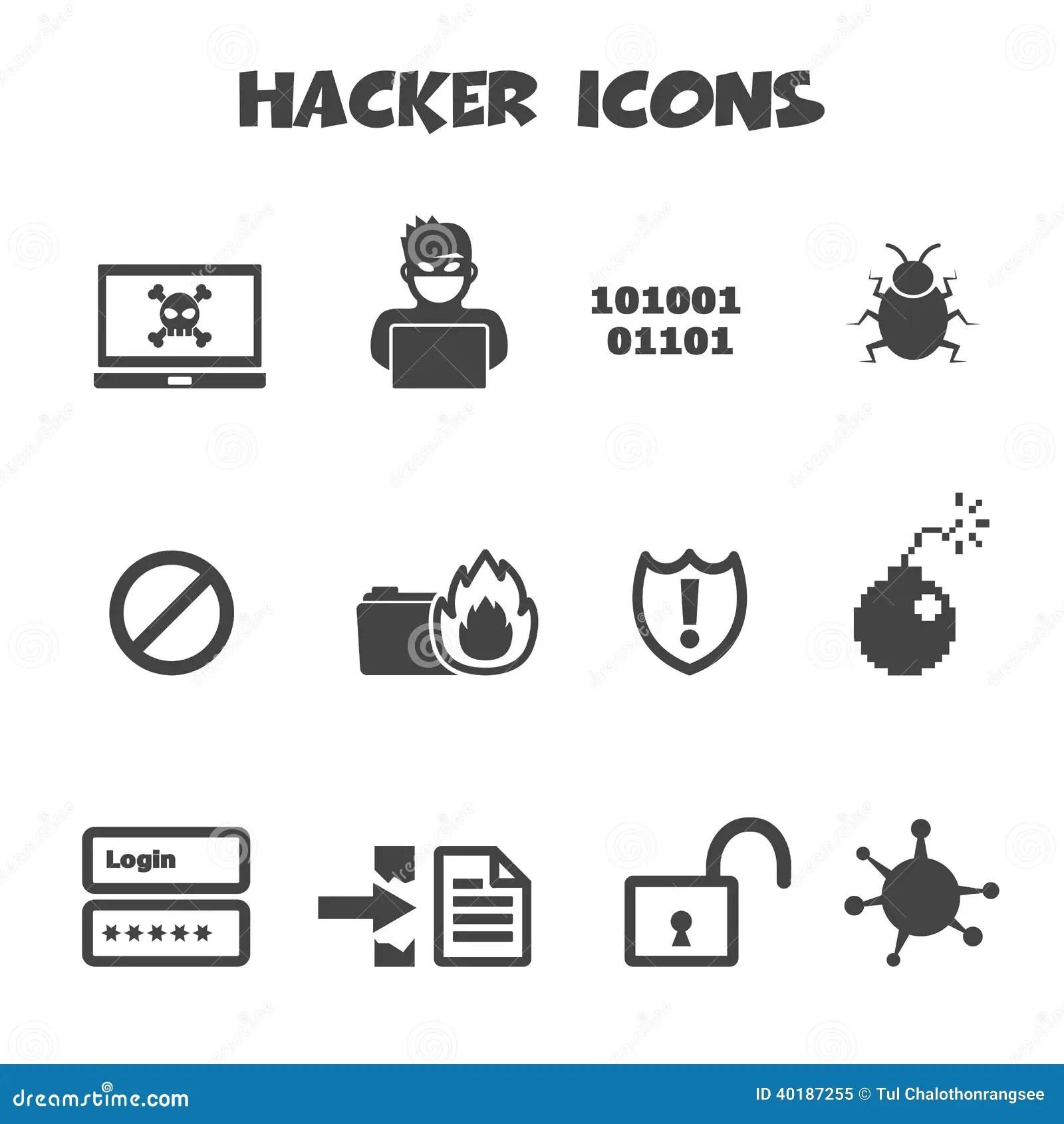 Hacker Icons Stock Vector