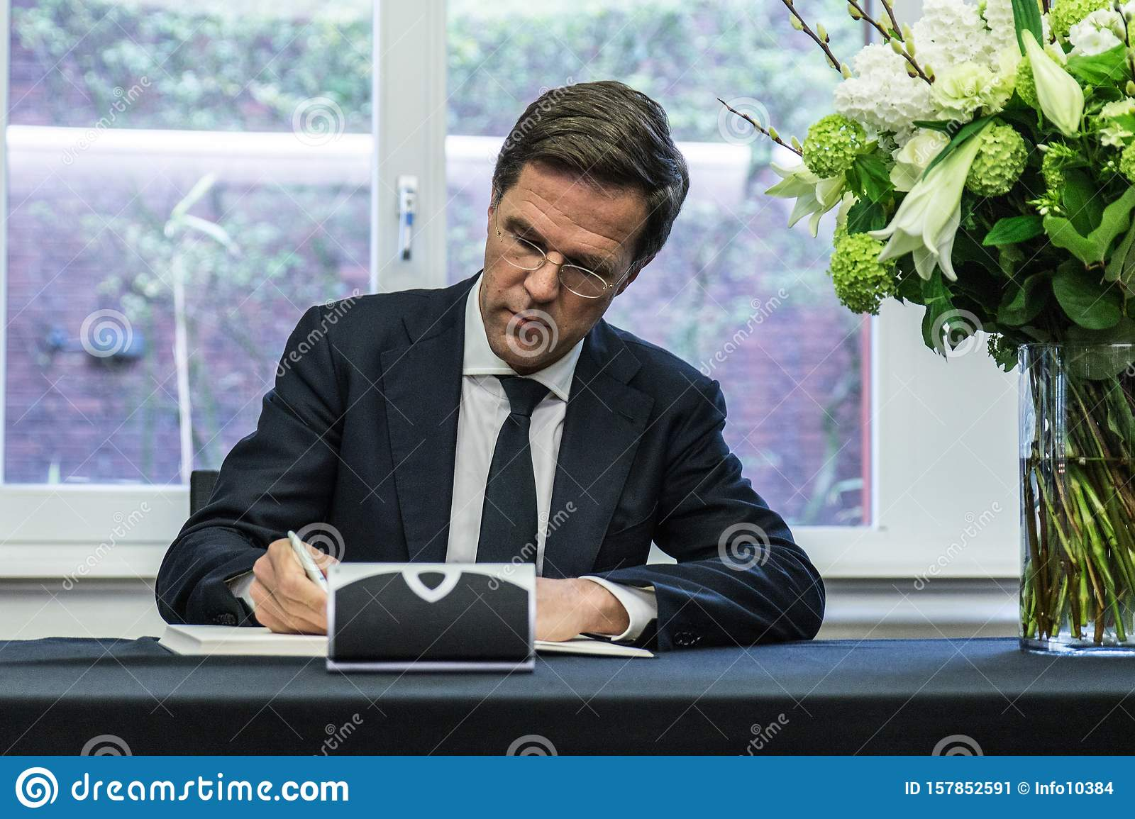 https www dreamstime com hague netherlands march shooting brussels prime minister pm netherlands mark rutte signs book image157852591