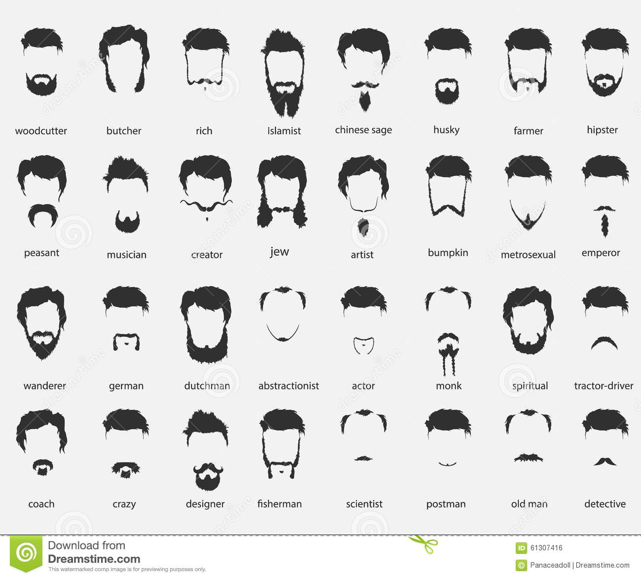 Hair And Beards Of Different Faiths Stock Vector Image