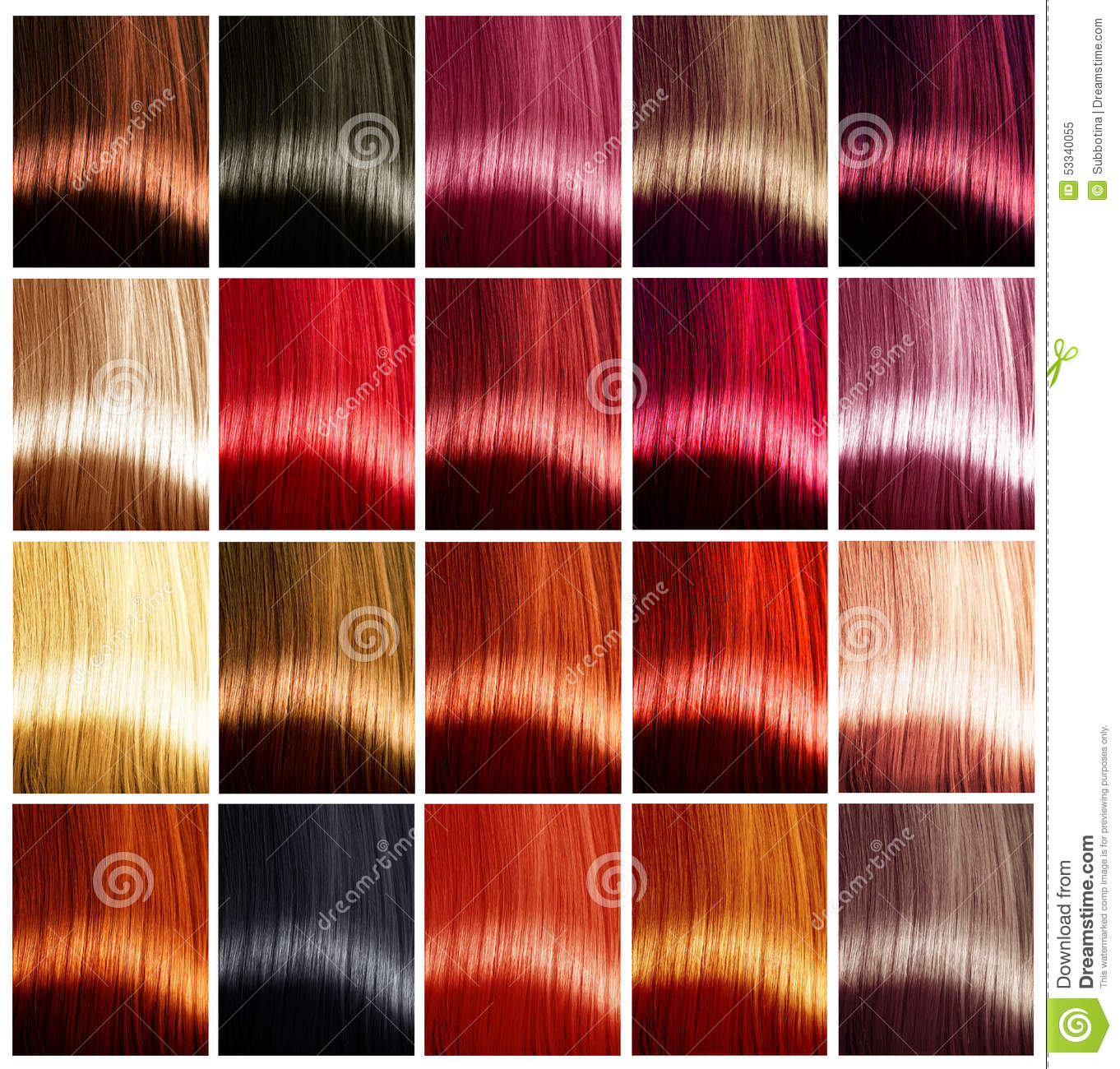 Hair Colors Palette Tints Stock Photo Image 53340055