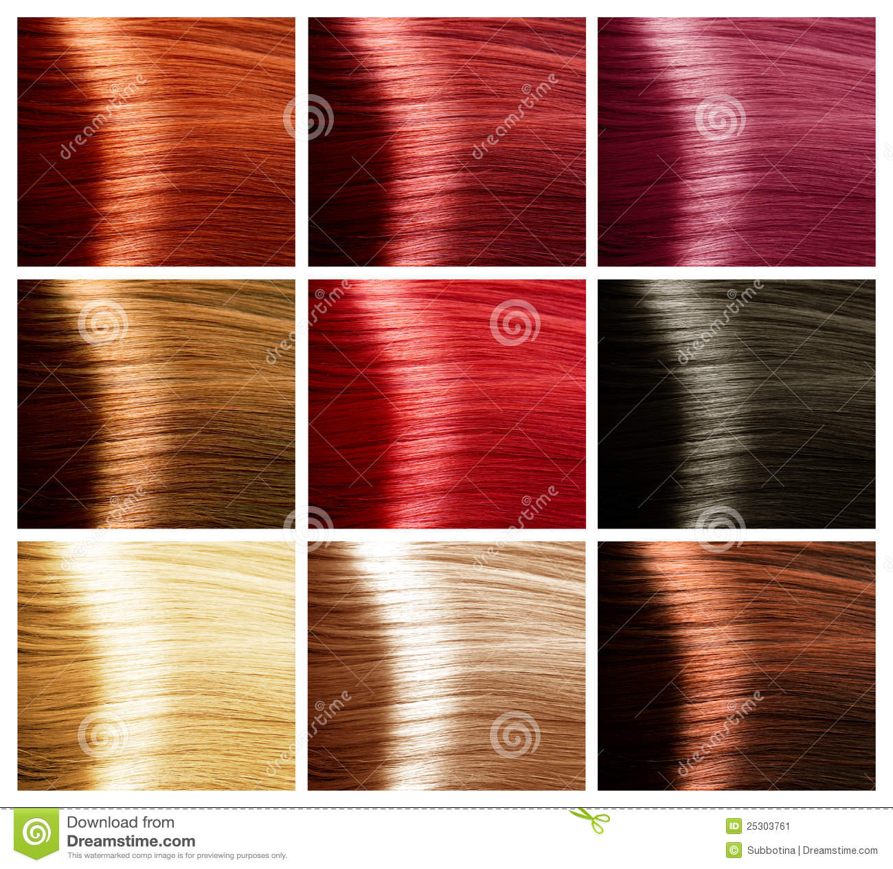 Hair Colors Set Tints Stock Image Image Of Clean