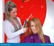 hair stylist work stock