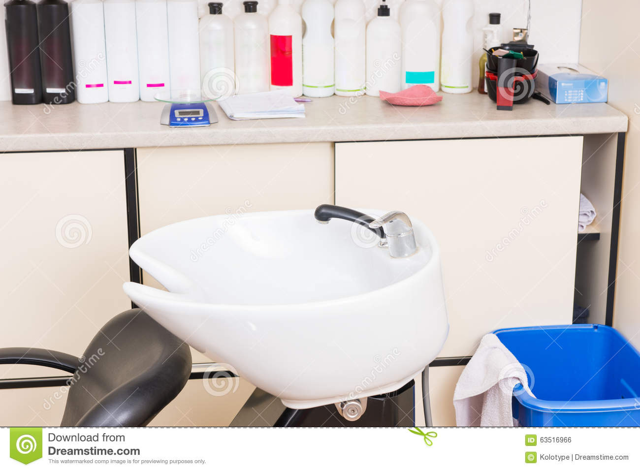 Salon Sink And Chair Hair Wash Sink And Products In Salon Stock Photo Image