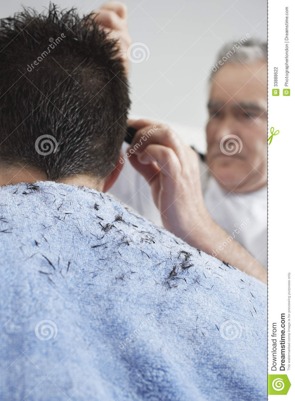 Hairdresser Cutting Mans Hair Stock Photo Image Of