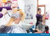 Hairdresser Salon. Woman During Hair Dye. Stock Photo ...
