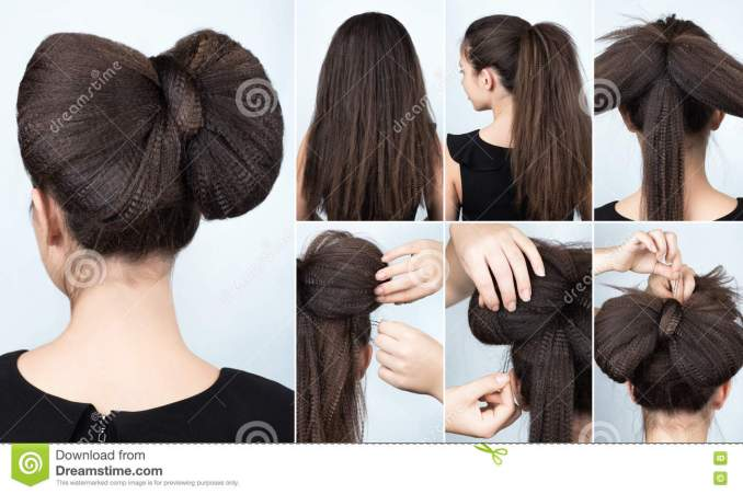 hairstyle with rippled hair tutorial stock image - image of