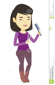 hairstylist holding comb and scissors