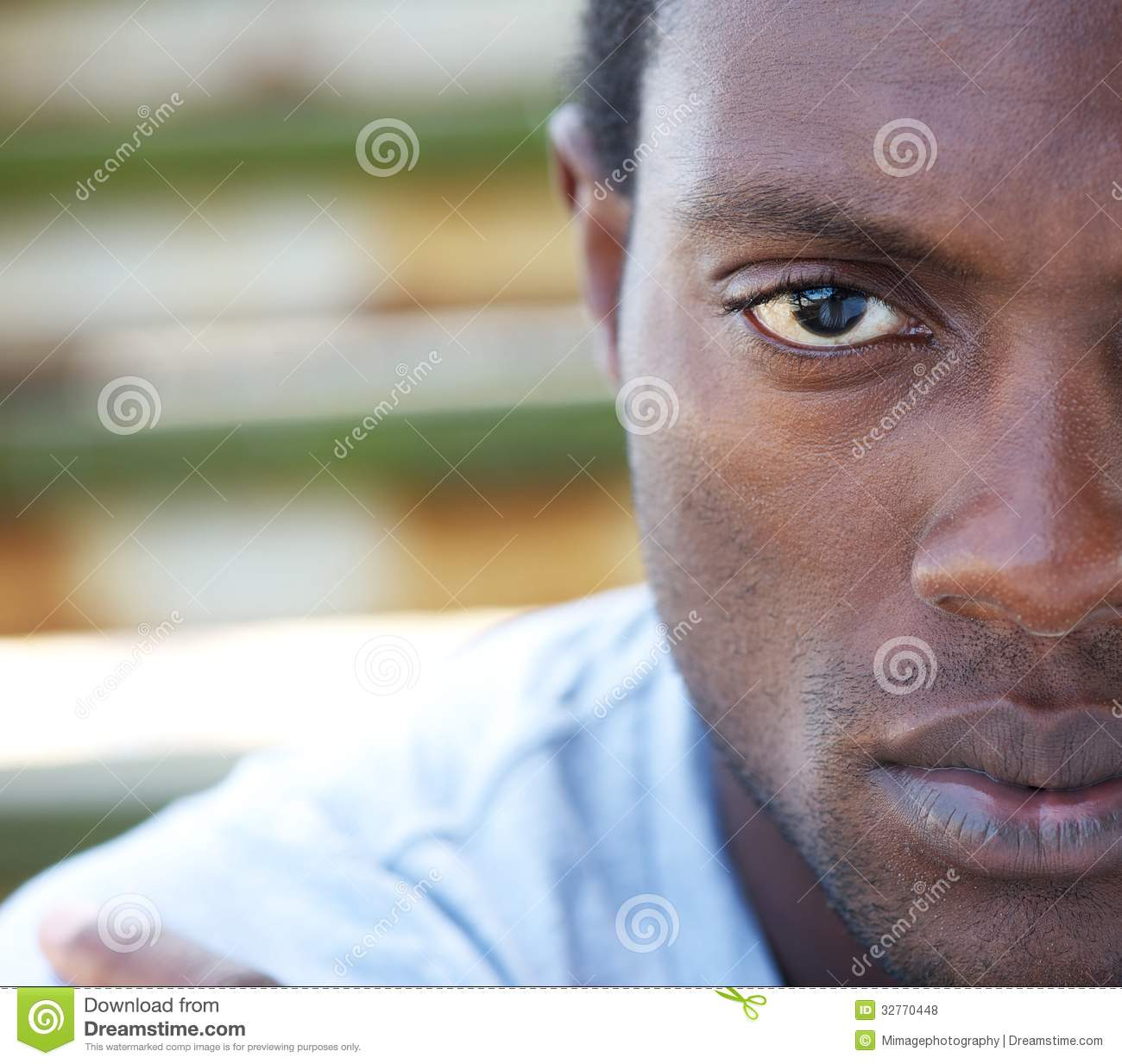 Half Face Portrait Of An African American Man Stock Photo