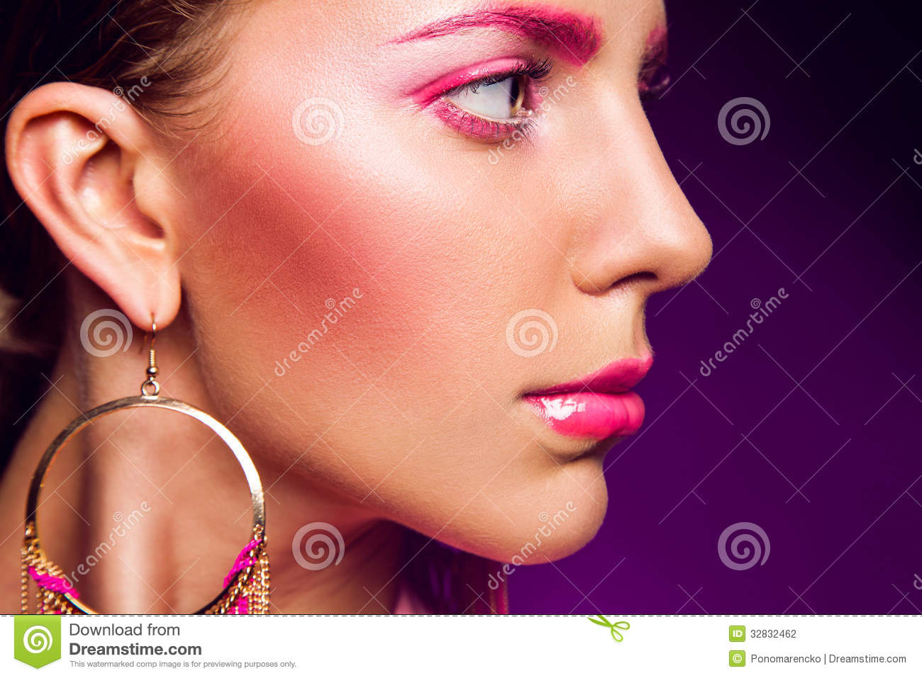 Half Face Portrait Of Female With Pink Make Up Stock