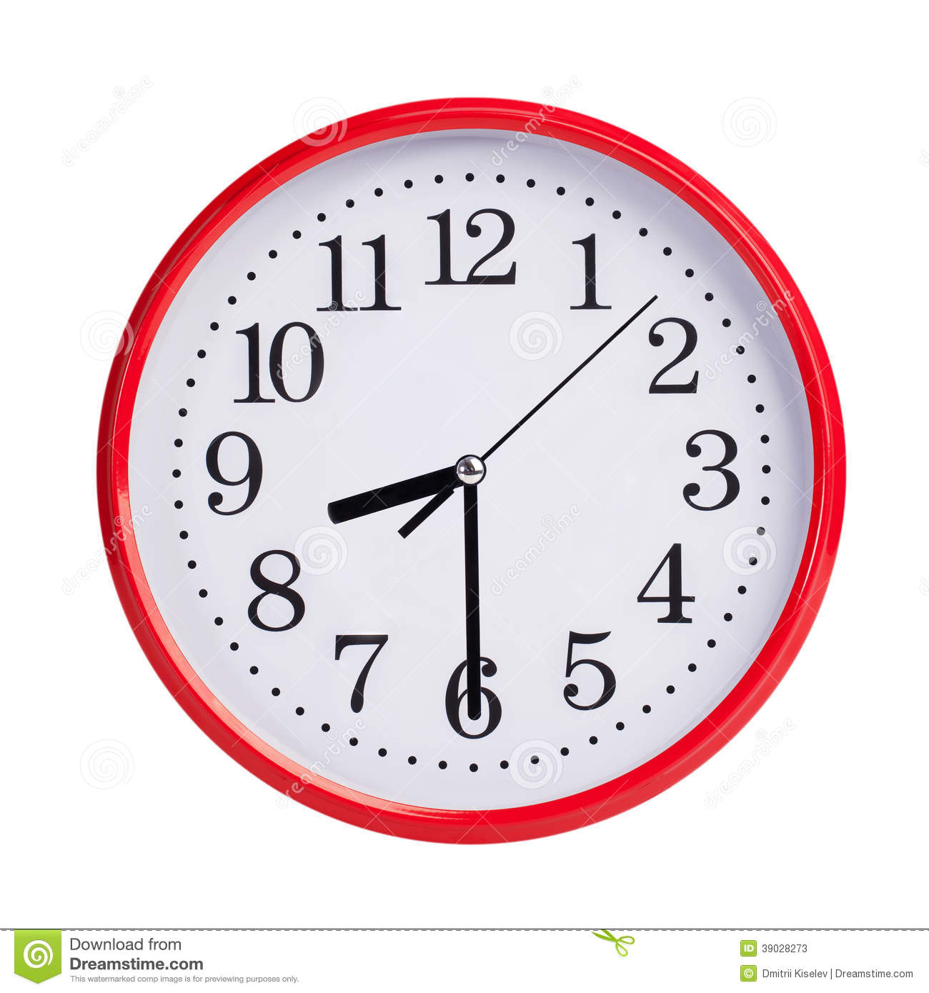Half Past Eight On A Round Clock Face Stock Image
