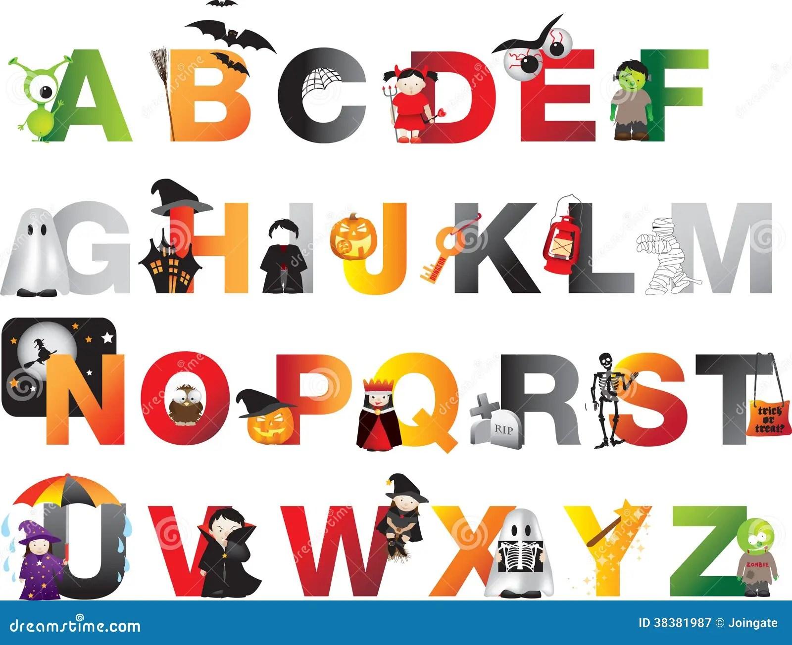 Halloween Alfabet Stock Illustratie Illustratie Bestaande